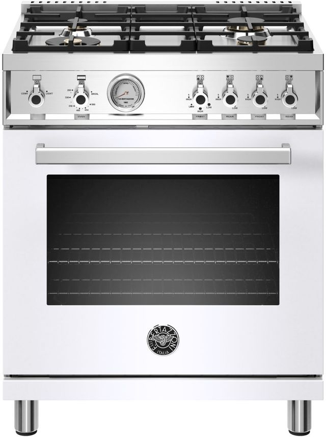 Cuisinière au gaz style Pro Bertazzoni® de 4,7 pi³ de 30 po - Blanc-PROF304GASBIT