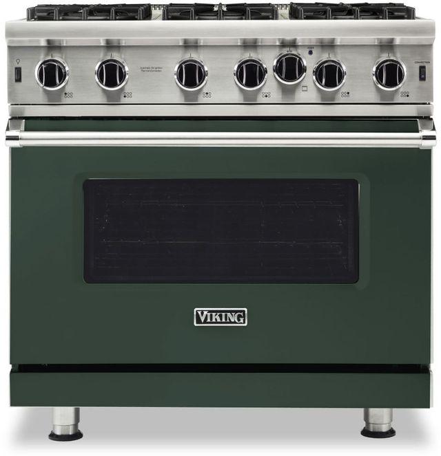"Viking® 5 Series 36"" Blackforest Green Pro Style Natural Gas Range-VGIC53626BBF"
