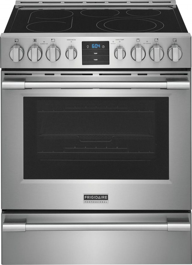 """Frigidaire Professional® 30"""" Stainless Steel Front Control Freestanding Air Fry Electric Range-PCFE3078AF"""