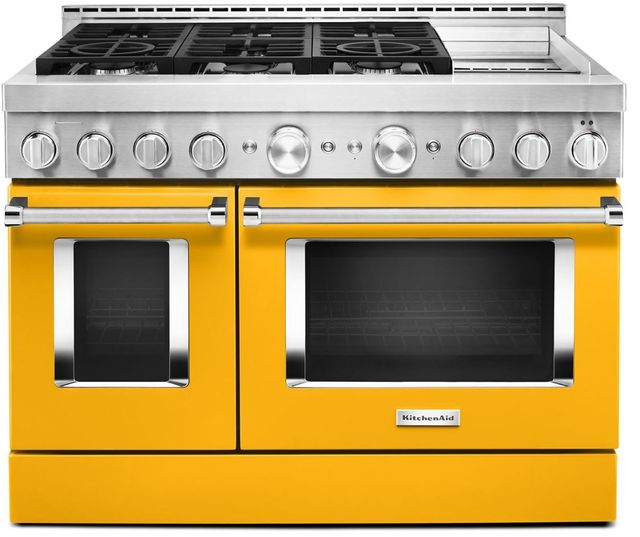 """KitchenAid® 48"""" Yellow Pepper Smart Commercial-Style Gas Range with Griddle-KFGC558JYP"""