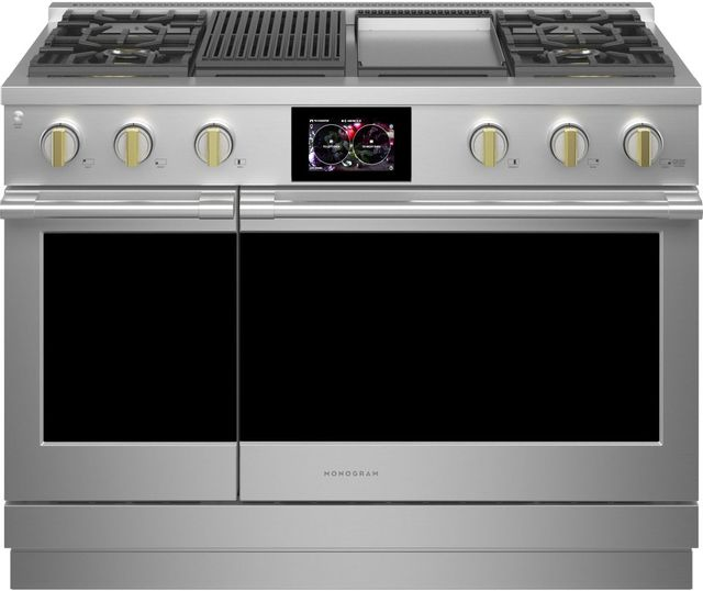 """Monogram® Statement Collection 48"""" Stainless Steel Pro Style Dual Fuel Range -ZDP484NGTSS"""