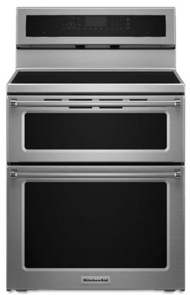 Cuisinière électrique à four double autoportante de 30 po KitchenAid® de 6,7 pi³ - Acier inoxydable-YKFID500ESS