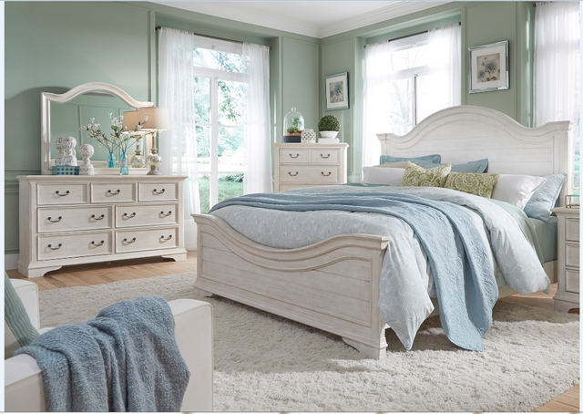 Liberty Bayside Bedroom King Panel Bed, Dresser, Mirror and Chest Collection-249-BR-KPBDMC