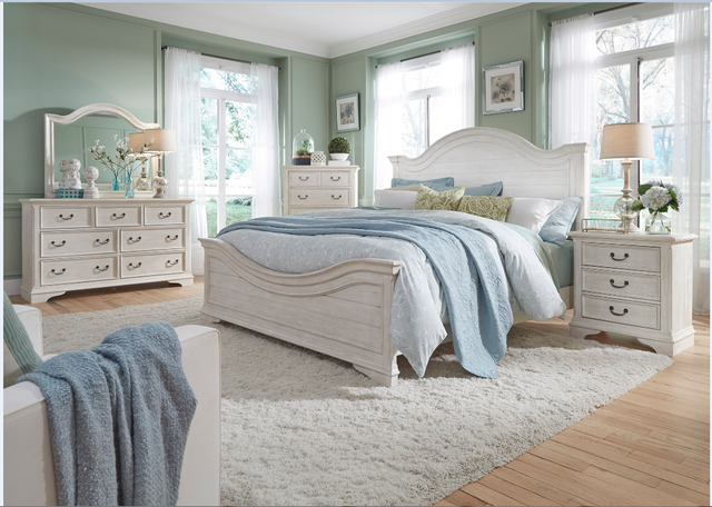 Liberty Bayside Bedroom, King Panel Bed. Dresser, Mirror, Chest and Night Stand Collection-249-BR-KPBDMCN