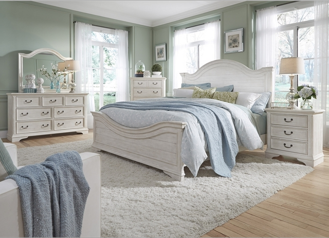 Liberty Furniture Bayside 3 Piece Antique White Queen Panel Bedroom Set-249-BR-QPBDM