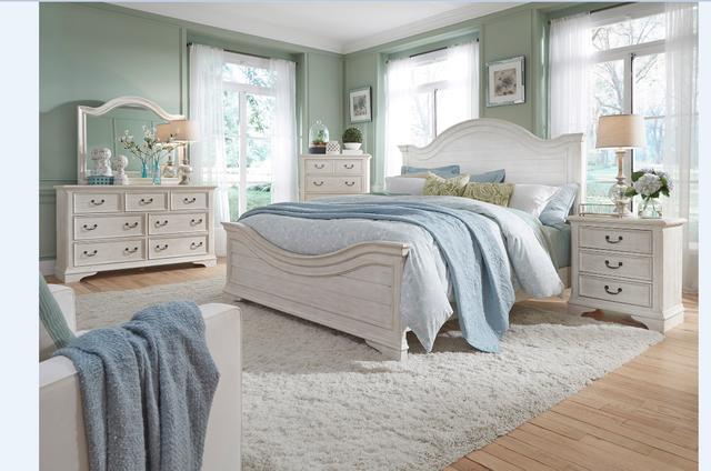 Liberty Furniture Bayside 5 Piece Antique White Queen Panel Bedroom Set-249-BR-QPBDMCN