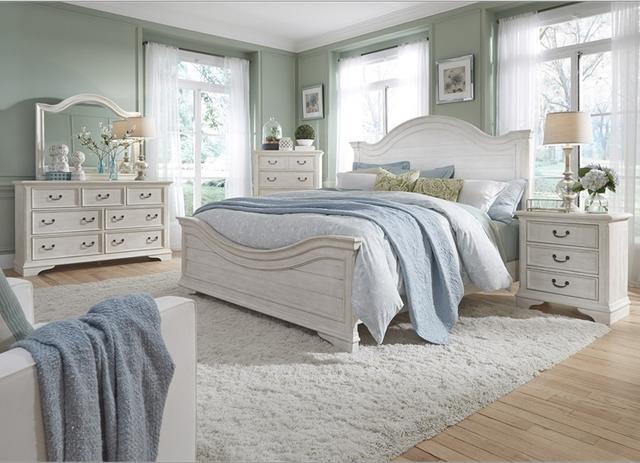 Liberty Furniture Bayside 4 Piece Antique White Queen Panel Bedroom Set-249-BR-QPBDMN