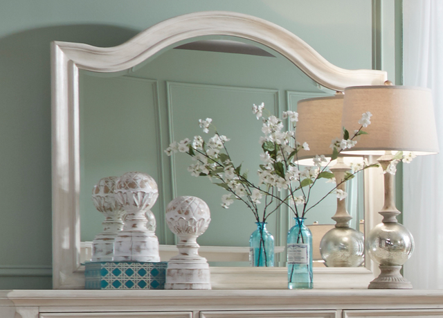 Liberty Furniture Bayside Antique White Arched Mirror-249-BR51