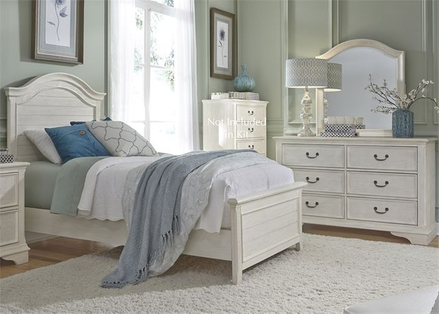 Liberty Furniture Bayside 3 Piece Antique White Youth Twin Panel Bedroom Set-249-YBR-FPBDM