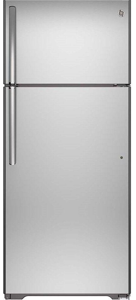 GE® 18 Cu. Ft. Stainless Steel Top Freezer Refrigerator-GTS18FSLKSS