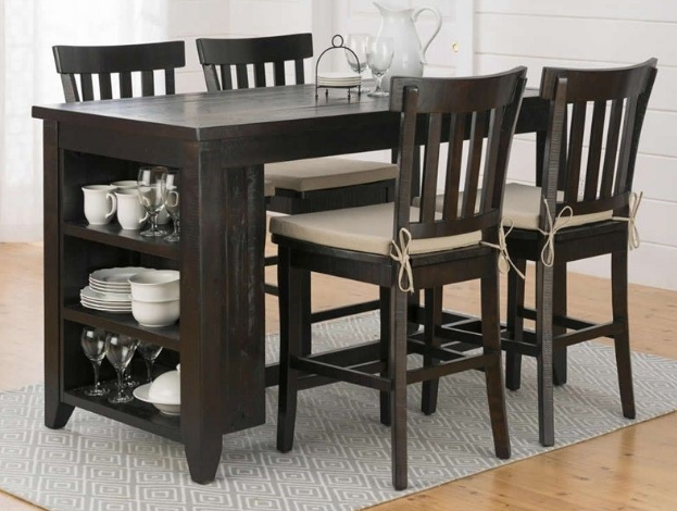 Jofran Inc. Prospect Creek Counter Height Storage Table and Stool Set-257-60-4xBS831KD
