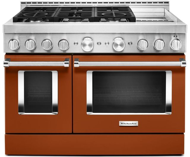 "KitchenAid® 48"" Scorched Orange Smart Commercial-Style Gas Range with Griddle-KFGC558JSC"