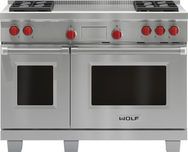 """Wolf® 48"""" Pro Style Dual Fuel Range-Stainless Steel-DF484F"""