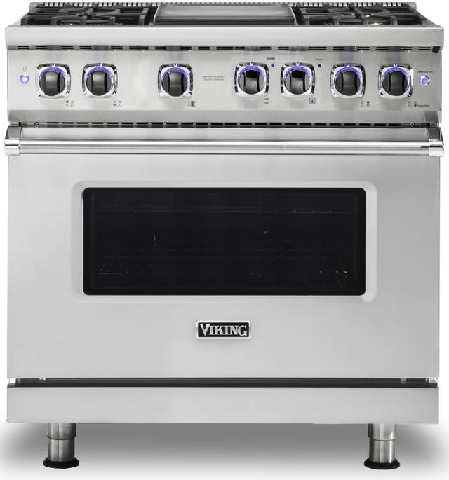 "Viking® 7 Series 36"" Stainless Steel Pro Style Gas Range-VGR73624GSSLP"