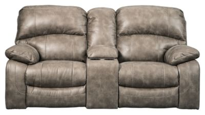 Signature Design by Ashley® Dunwell Driftwood Power Reclining Loveseat with Console and Adjustable Headrest-5160218
