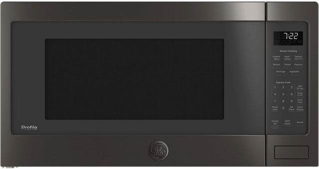 GE Profile™ 2.2 Cu. Ft. Black Stainless Steel Countertop Sensor Microwave Oven-PES7227BLTS