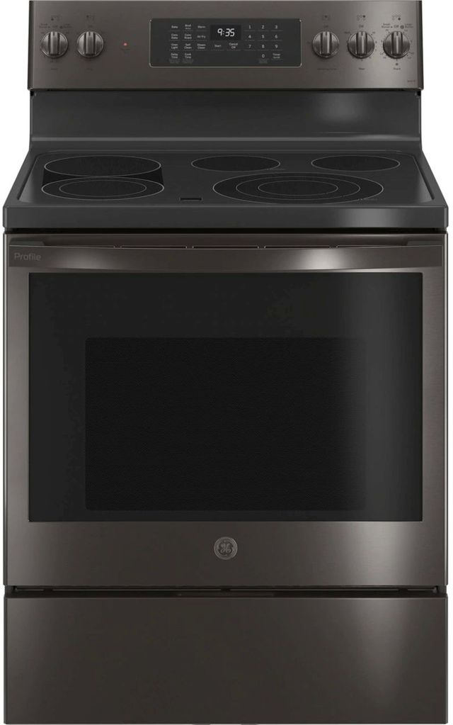 """GE® Profile™ 30"""" Fingerprint Resistant Black Stainless Steel Free Standing Electric Range-PB935BPTS"""
