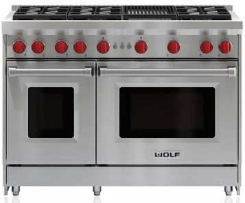 """Wolf® 48"""" Stainless Steel Pro Style Gas Range-GR486C"""