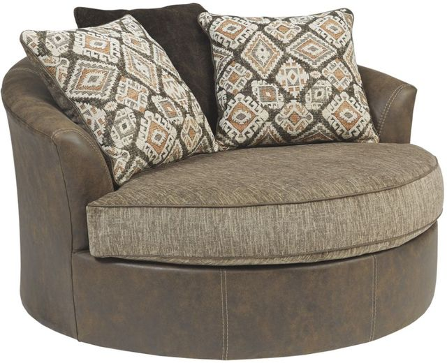 Benchcraft® Abalone Chocolate Oversized Swivel Accent Chair-9130221