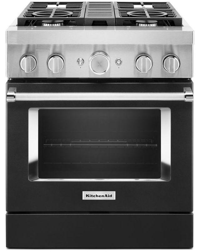 Cuisinière bicombustible intelligente style commercial de 30 po KitchenAid® de 4,1 pi³ - Noir impérial-KFDC500JBK