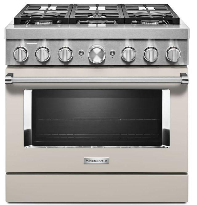 Cuisinière bicombustible intelligente style commercial de 36 po KitchenAid® de 5,1 pi³ - Lait frappé mat-KFDC506JMH