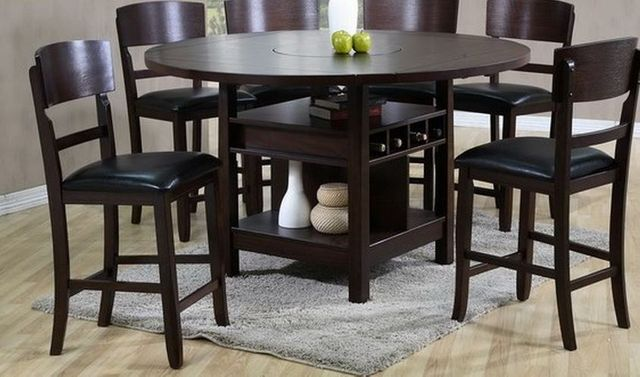 7 Pc Crown Mark Conner Counter High Table & Chairs Set-2849