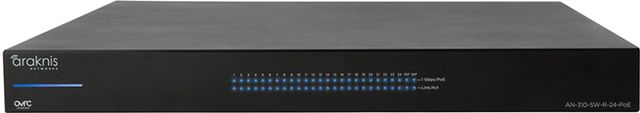 SnapAV Araknis Networks® 310 Series Black 24+2 Rear Ports L2 Managed Gigabit Switch with Full PoE+-AN-310-SW-R-24-POE