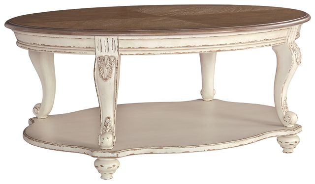 Signature Design by Ashley® Realyn White/Brown Oval Cocktail Table-T743-0