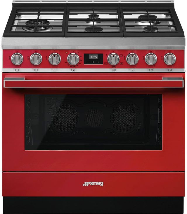 "Smeg Portofino Aesthetic 36"" Red Pro Style Natural Gas Range-CPF36UGGR"