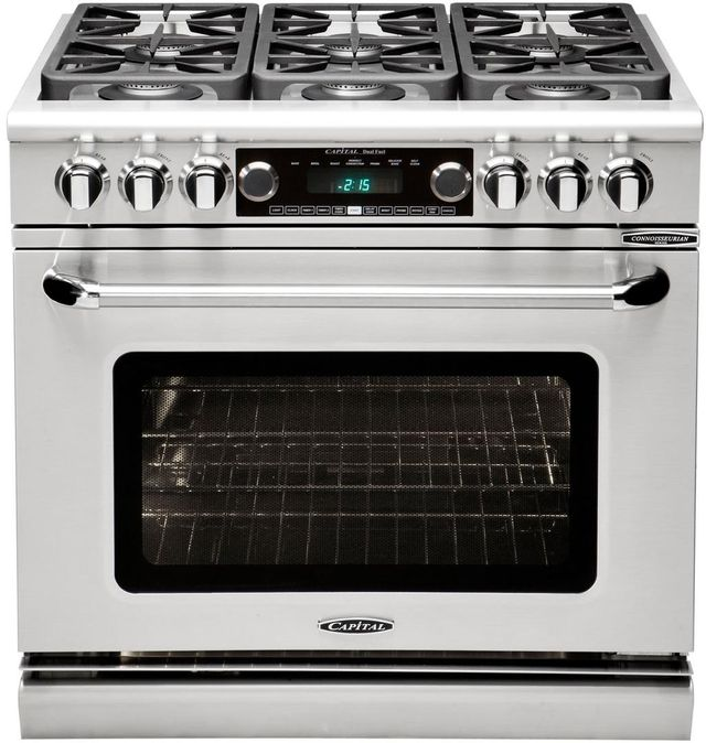 """Capital Connoisseurian 36"""" Stainless Steel Free Standing Dual Fuel Range-CSB366L"""