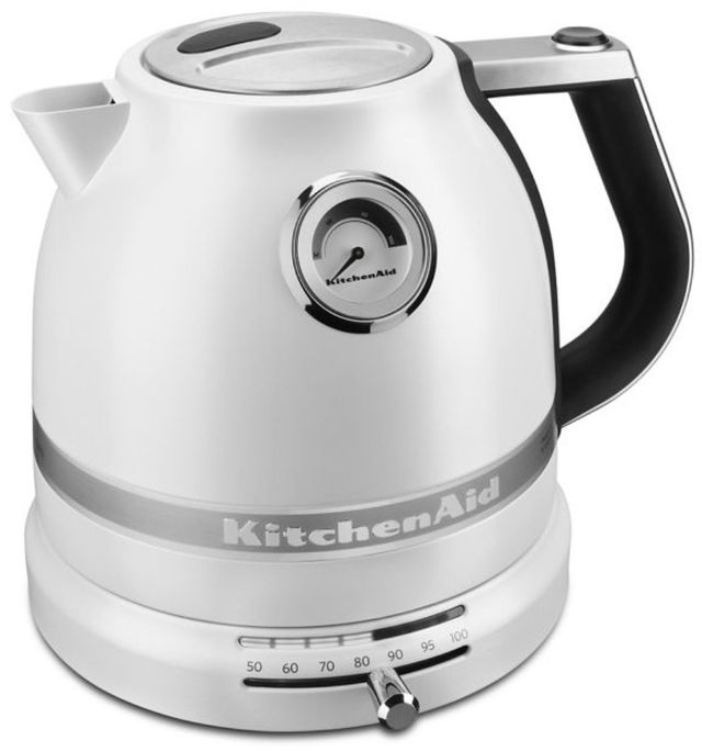 KitchenAid® Pro Line® Series 1.5 L Frosted Pearl White Electric Kettle-KEK1522FP
