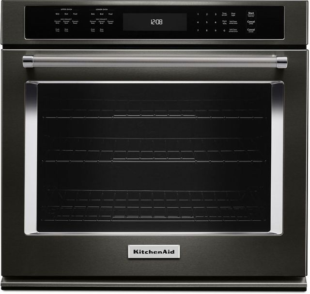 """KitchenAid® 27"""" Black Stainless Steel with PrintShield™ Finish Electric Single Oven Built In-KOSE507EBS"""