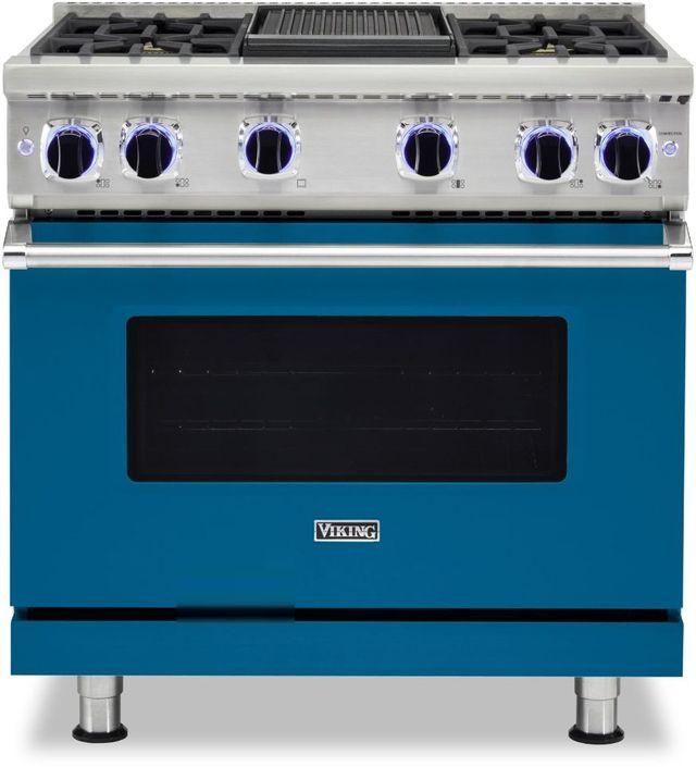 "Viking® 7 Series 36"" Alluvial Blue Pro Style Liquid Propane Gas Range with 12"" Reversible Griddle-VGR73624GABLP"