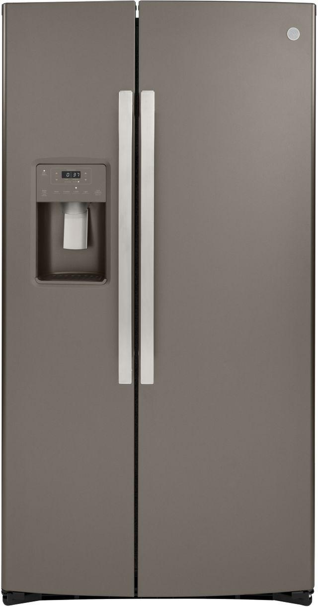 GE® 21.8 Cu. Ft. Slate Counter Depth Side-By-Side Refrigerator-GZS22IMNES