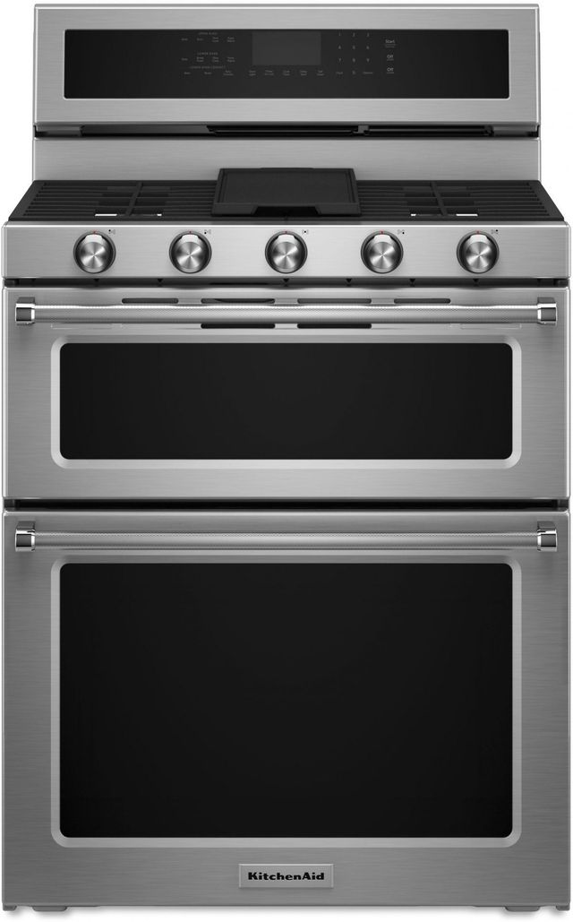 """KitchenAid® 30"""" Stainless Steel Free Standing Dual Fuel Double Oven Range-KFDD500ESS"""