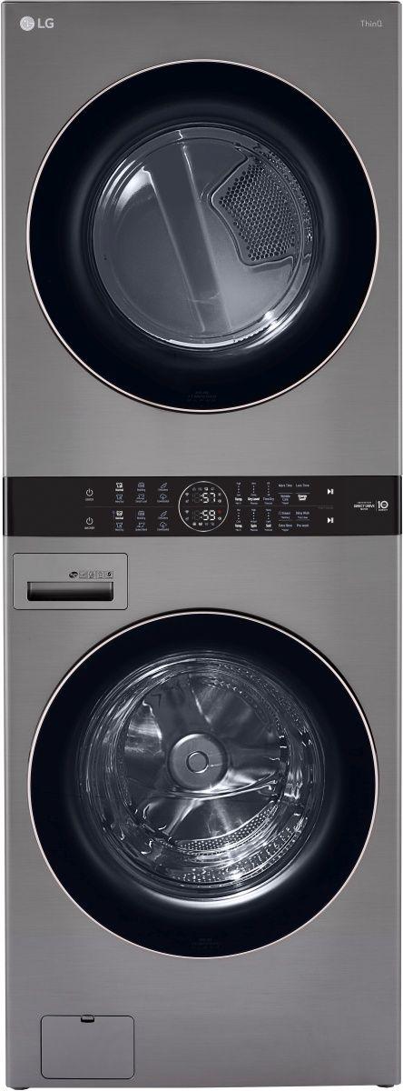 LG 4.5 Cu. Ft. Washer, 7.4 Cu. Ft. Electric Dryer Graphite Steel Front Load Stack Laundry-WKE100HVA