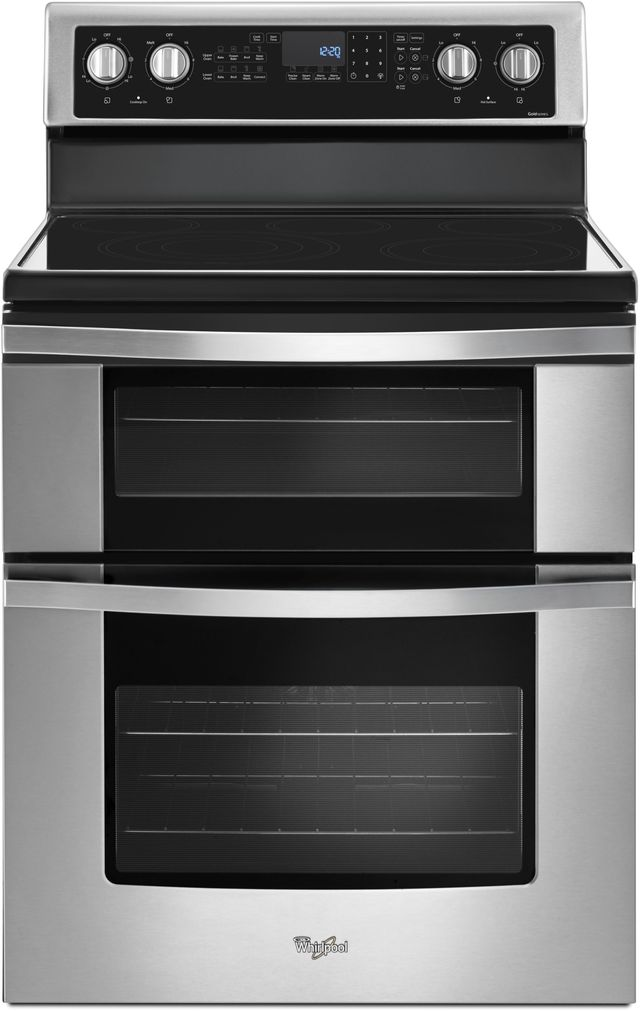 """Whirlpool® 30"""" Free Standing Double Oven Electric Range-Stainless Steel-WGE745C0FS"""