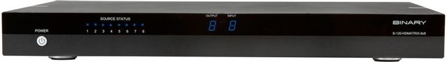 SnapAV Binary™ 120 Series Black 8x8 HDMI Matrix Switcher with HDMI Outputs-B-120-HDMATRIX-8x8