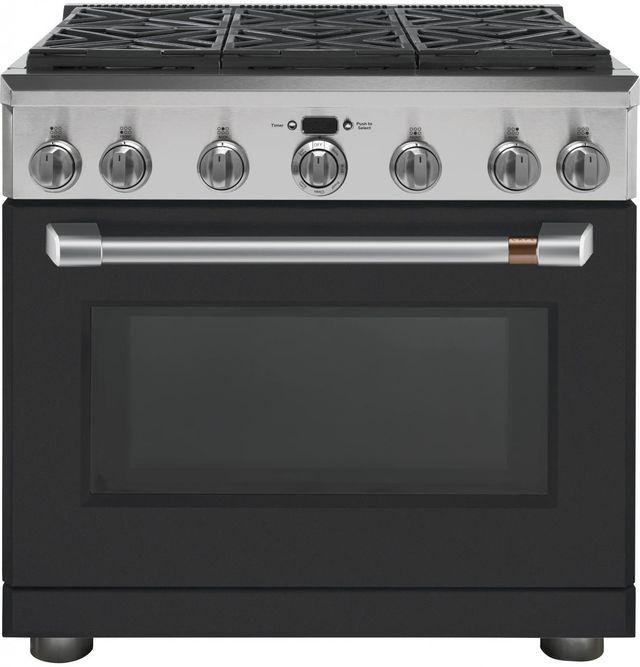 """Café™ 36"""" Matte Black Professional Style Dual Fuel Range-C2Y366P3MD1"""