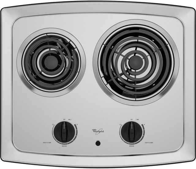 """Whirlpool® 21"""" Electric Cooktop-Black on Stainless-RCS2012RS"""