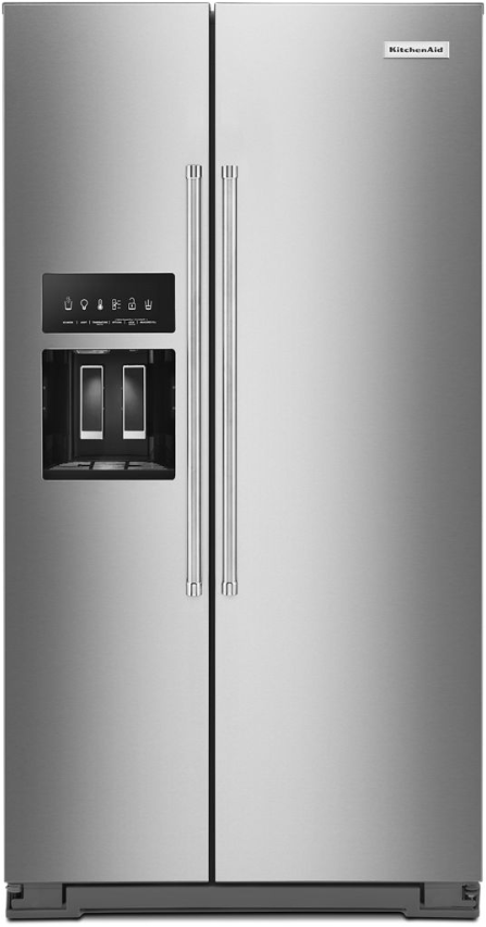 KitchenAid® 19.9 Cu. Ft. Stainless Steel with PrintShield™ Finish Counter-Depth Side-by-Side Refrigerator-KRSC700HPS