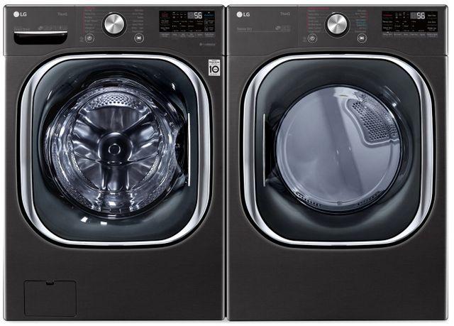 LG Black Steel Front Load Laundry Pair-LGLAUDLEX4500B