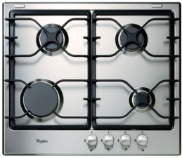 """Whirlpool® 24"""" Gas Cooktop-Black On Stainless-WCG52424AS"""