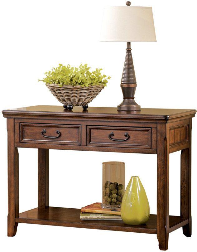 Signature Design by Ashley® Woodboro Dark Brown Sofa/Console Table-T478-4