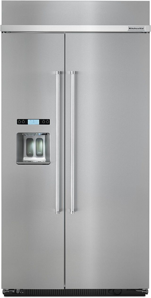 KitchenAid® 25.02 Cu. Ft. Stainless Steel Built In Side By Side Refrigerator-KBSD612ESS