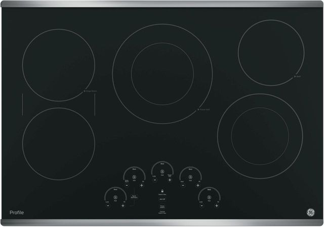 """GE Profile™ Series 30"""" Black with Stainless Steel Electric Cooktop-PP9030SJSS"""