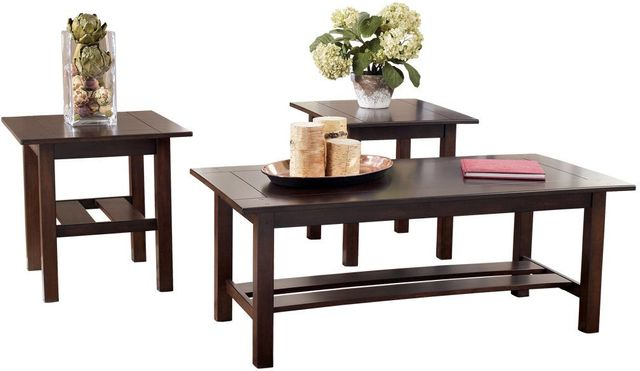 Signature Design by Ashley® Lewis Medium Brown 3 Piece Occasional Table Set-T309-13