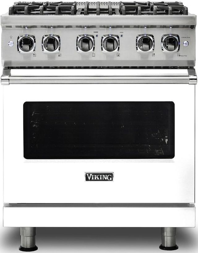 "Viking® Professional 5 Series 30"" Pro Style Dual Fuel Range-White-VDR5304BWHLP"