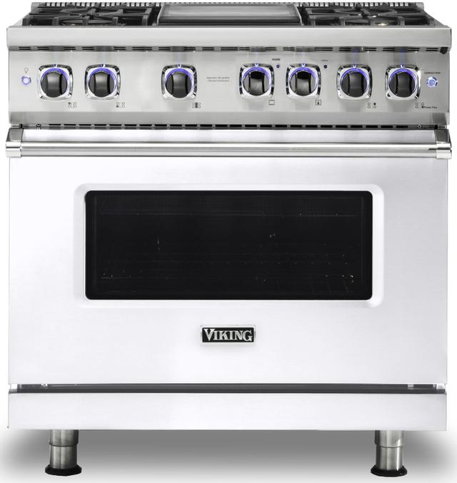 "Viking® 7 Series 36"" White Pro Style Dual Fuel Range-VDR73624GWH"