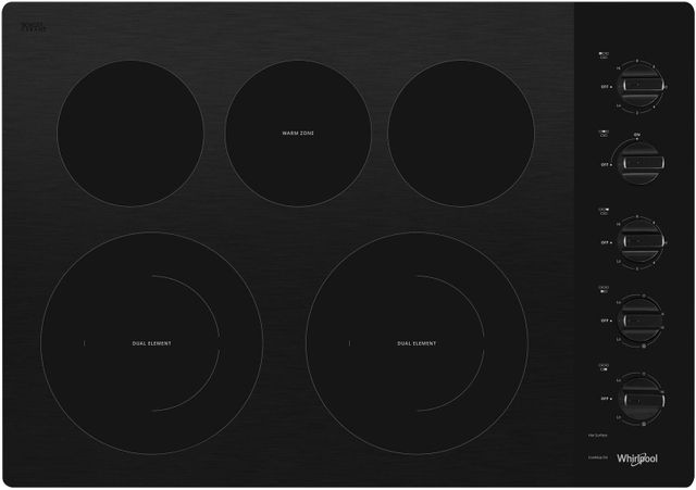 """Whirlpool® 30"""" Electric Cooktop-Black-WCE77US0HB"""